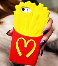3D Cute French Fries Soft Silicone Rubber Cover Case for Various Mobile Phones