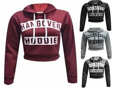 Womens Ladies Hangover Hoodie Print Pull Over Hoody Sweatshirt Crop Top UK 8-12