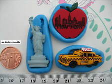 America, New York, Statue of Liberty, Apple & Taxi Silicon Moulds,Cake Toppers