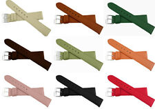 Leather watch strap band 12mm - 20mm many colours silver tone buckle