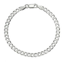 Solid 925 Sterling Silver Men's Italian 4.5mm Cuban Curb Link Chain Bracelet
