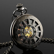 Vintage Unique Man's Steampunk Skeleton Black Mechanical Chain Mens Pocket Watch