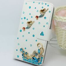 Bling Crystal Mermaid PU Leather Flip Cover Credit Card Wallet Case For Lenovo