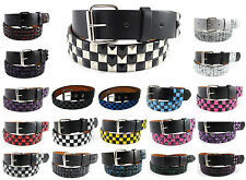 Studded Leather Belt Mens Removable Buckle Pyramid Metal Checkered Studs Unisex