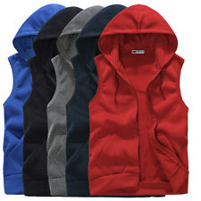 Mens Stylish Hoodie Sleeveless Zipper Jacket Vest Waistcoat Tops Hooded S-XXL