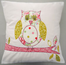 Owl appliqued cushion embroidered Perfect christmas girls mum gift personalised