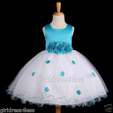 Turquoise Blue Wedding Pageant Flower Girl Dress 6M 12M 18M 2 4/4T 6/6X 8 10