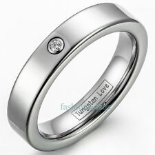 4MM Comfort Fit Tungsten Carbide Women's Ring Cubic Zirconia Love Wedding Band