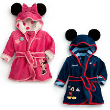 Red / Navy Mickey Minnie Fleece Dressing Gown 1-6 Years Bath Robe Night-gown