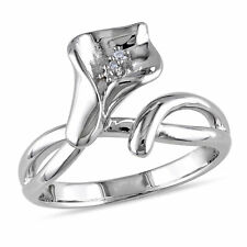 Sterling Silver Diamond Calla Lily Flower Ring GH I1;I2