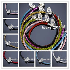 New 10/20pcs Mixed Braid Leather Charm Bracelets Fit European Beads Sizes Choose