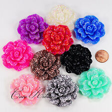 46mm 6/12/24pc Large Faux Rhinestone Flower Rose Flatback Resin Cabochon