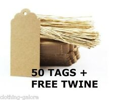 50 PACK OF BROWN KRAFT WEDDING BONBONNIERE GIFT PAPER TAGS + FREE TWINE STRING
