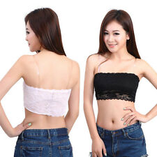 New Women's Sexy Lace Casual Strapless Crop Boob Tube Top Bandeau Bra 4 Colours