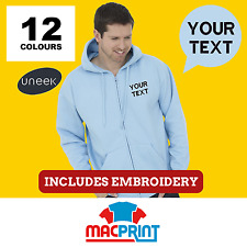 Uneek UC504 Personalised Embroidered Zip Hoodie, Workwear, Customised Hoody Top