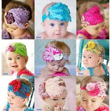 Baby Infant Toddler Feather Flowers Headwear Headband Hair Band NEW 9 Choices