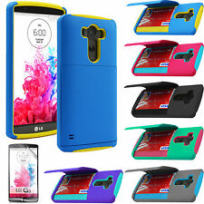 Hybrid Rugged Credit Card Cash ID Wallet Hard Case Cover For 2014 LG G3 & Film