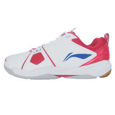 Li-Ning Badminton Training Indoor Shoes Mens White/Red Leather Gum Rubber