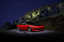 Poster of S13 240 240sx Right Front Red HD Sports Car Print