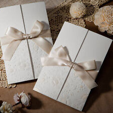 Classic White Champagne Silk Tie Wedding Invitations Cards with Envelopes, Seals