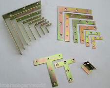 Zinc Yellow Passivated CORNER BRACES ANGLE BRACKETS FLAT REPAIR PLATE