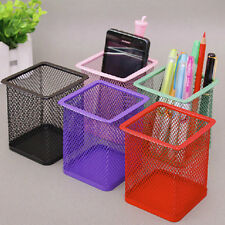 Square Cosmetic Metal Pen Pencil Holder Stationery Container Organizer Office