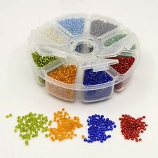 1Box Glass Seed Spacer Beads Ceylon Round Loose Bracelet Finding DIY Mixed Color
