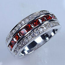 Fancy Men's Red Garnet 10KT White Gold Filled Wedding Band Ring Size 7-13