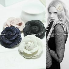 New Luxury Elegant Tweed Camellia Flower Pin Brooch With Gift Box Celebrity Love