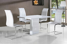 New Stunning Maxi White High Gloss Dining Table + Dining Chairs