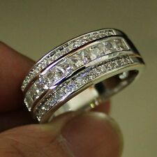 Size 8-12 Classic Mens White Sapphire White Gold Filled Wedding Band Gem Ring
