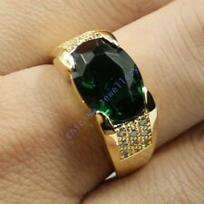 Size 9,10,11 NICE Jewelry Mens Green Emerald 10KT Yellow Gold Filled Band Ring