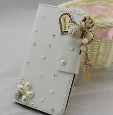 Bling Pearl Wallet Card Holder PU Leather Flip Pouch Cover Case for Samsung 2