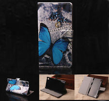 Blue Butterfly Wallet Flip wallet card leather case for SamSung Iphone Nokia G14
