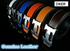 DKER H Shaped Buckle Genuine Cow Leather Belt Waistband For Women and Men