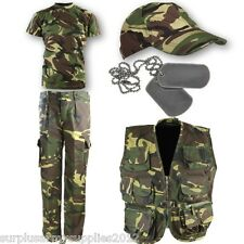 BOYS ARMY OUTFIT KIDS TROUSERS CAP T-SHIRT VEST DRESS UP FANCY DRESS MILITARY