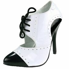 "Ellie Shoes High Heel Black White 5"" Heel Two Tone Closed Toe 511-GANGSTER/BLKW"