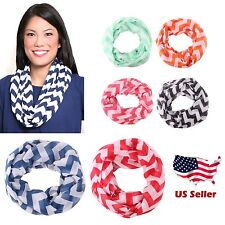 Womens Girls Multicolor Chevron Infinity Scarf Scarves New Fashion Zig Zag Light