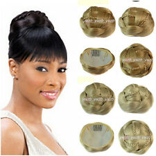 New Womens Clip-on Synthetic Hairpiece Dish Hair Bun Contract Tail Wig 15Colors