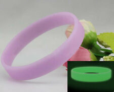 New Silicone Sport Bracelets Wristband Luminous Glow in the Dark Cuff 6 Color