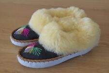 Size 2- 8 Womens Mens Unisex  Natural Leather Sheepswool Slippers Moccasins