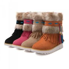 Winter Tassles Fuax Fur Trendy Girls Fur Lined Faux Suede Snow Warm Ankle Boots