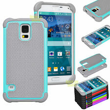 Film + Hybrid Rugged Rubber Matte Hard Case Cover For Samsung Galaxy S3/S4/S5