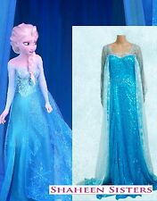 Disney Adult Elsa Anna Frozen Queen Fancy Christmas Gown Dress UK Size 6 8 10 12
