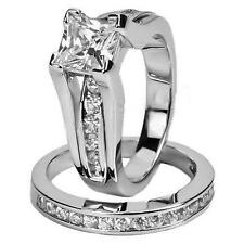 Women's Stainless Steel Princess Cut Wedding Ring Set Size 6-10 white zircon