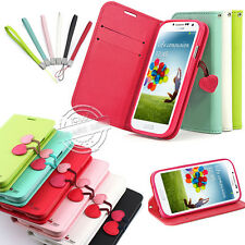 CHERRY LEATHER FLIP STAND WALLET CARD CASE COVER FOR SAMSUNG GALAXY MODELS +FILM
