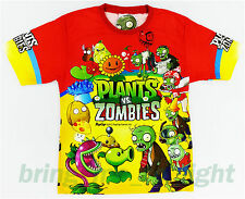 Plants vs Zombies Boys Kids Sunflower Peashooter Games Top Tee Toy T-Shirts 7-10