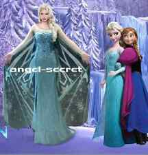 PJ737 Movies Frozen Snow Queen Elsa Cosplay Costume dress Deluxe palace  tailor
