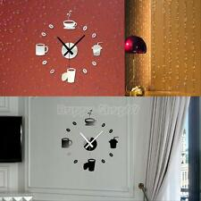 DIY Wall Clock 3D Stickers Hours Modern Mirror Art Watches Home Room Decoration