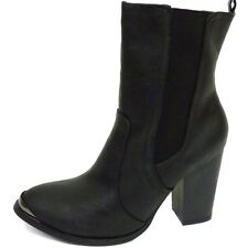 WOMENS DOLCIS BLACK BIKER CHELSEA DEALER ANKLE PULL-ON BOOTS SHOES SIZE 3-8